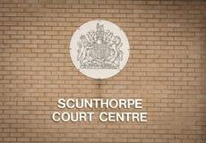 Segno del centro della corte di Scunthorpe - Scunthorpe, Lincolnshire, unita fotografia stock