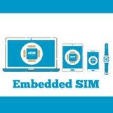 Segno del chip della carta di ESIM sugli schermi digitali dei dispositivi Fotografie Stock Libere da Diritti