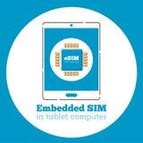 Segno del chip della carta di ESIM sullo schermo della compressa Fotografia Stock