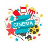 Segno del cinema con le icone del cinema messe Fotografie Stock Libere da Diritti