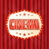 Segno del cinema sulla tenda rossa Retro struttura leggera con le lampade di ardore illustrazione di stock