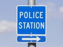 Segno del commissariato di polizia Immagini Stock