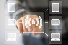 Segno del computer del segnale del collegamento di web di Wifi del bottone di affari Fotografie Stock