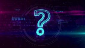 Segno del segno dell'ologramma di domanda su fondo digitale illustrazione di stock