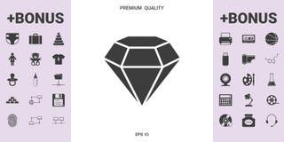 Segno del diamante Simbolo dei gioielli Gem Stone Progettazione semplice piana illustrazione vettoriale