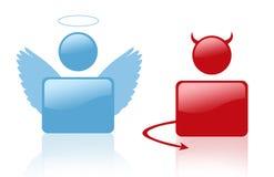 Segno del diavolo e dell'angelo Fotografia Stock