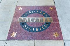 Segno del distretto del teatro di Chicago Fotografia Stock Libera da Diritti