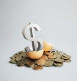 Segno del dollaro d'argento che cova da un uovo marrone. Fotografie Stock Libere da Diritti
