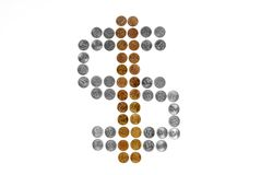 Segno del dollaro dalle monete Immagini Stock Libere da Diritti