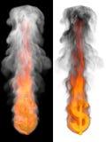 Segno del dollaro del fuoco. Fotografia Stock