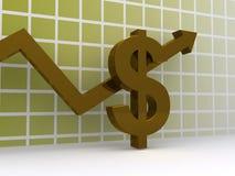 Segno del dollaro dell'oro Fotografie Stock