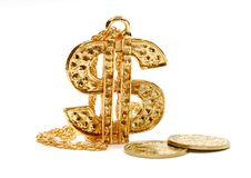 Segno del dollaro dell'oro fotografie stock libere da diritti
