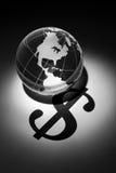 Segno del dollaro e del globo Immagine Stock