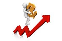 Segno del dollaro e dell'uomo d'affari. Immagini Stock Libere da Diritti