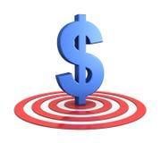 Segno del dollaro sull'obiettivo Fotografia Stock