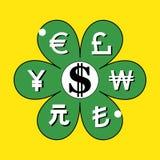 Segno del fiore del dollaro di USD Fotografia Stock