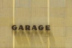 Segno del garage con ombra delle lettere Fotografia Stock Libera da Diritti