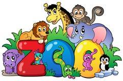 Segno del giardino zoologico con i vari animali Immagini Stock Libere da Diritti