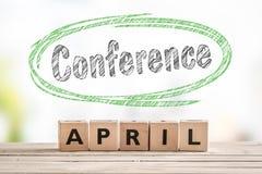 Segno del lancio di conferenza ad aprile fotografia stock