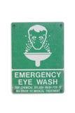 Segno del lavaggio dell'occhio di emergenza Fotografia Stock Libera da Diritti
