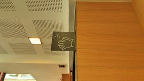Segno del lavaggio della mano Segno pulito della mano Fotografie Stock