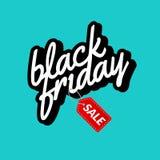 Segno del manifesto dell'iscrizione calligrafica di Black Friday retro Modello di vettore di progettazione dell'etichetta Fotografia Stock