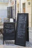Segno del menu del ristorante, Avignone fotografie stock