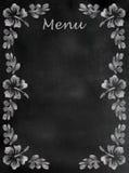 Segno del menu della lavagna con il confine dell'ibisco verticale Fotografie Stock Libere da Diritti