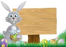 Segno del messaggio di Pasqua e del coniglietto Fotografia Stock