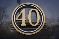 Segno del metallo con il numero 40 Fotografia Stock Libera da Diritti