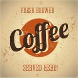 Segno del metallo dell'annata - caffè preparato fresco illustrazione di stock