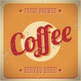 Segno del metallo dell'annata - caffè preparato fresco Immagine Stock Libera da Diritti