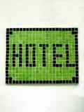 Segno del mosaico dell'hotel Immagini Stock
