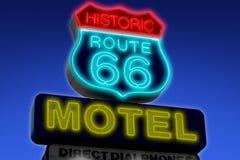 Segno del motel sull'itinerario 66 U.S.A. Immagine Stock