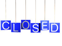 segno del negozio 3d chiuso su fondo bianco Fotografia Stock Libera da Diritti