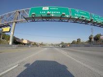 Segno del nord dell'autostrada senza pedaggio di Los Angeles 101 Fotografia Stock