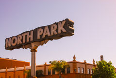 Segno del nord della vicinanza del parco, San Diego Fotografie Stock Libere da Diritti