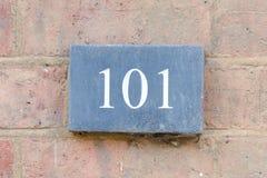 Segno del numero civico 101 Fotografia Stock Libera da Diritti