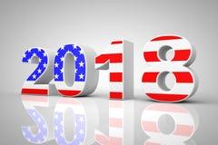 Segno del nuovo anno 2018 come bandiera di U.S.A. rappresentazione 3d Fotografia Stock Libera da Diritti