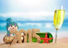 Segno del nuovo anno 2015 con champagne Immagini Stock Libere da Diritti