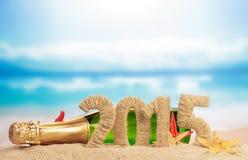Segno del nuovo anno 2015 con champagne Fotografia Stock