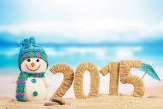 Segno del nuovo anno 2015 con il pupazzo di neve Fotografia Stock Libera da Diritti
