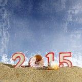 Segno del nuovo anno 2015 con la palla delle conchiglie, delle stelle marine e di natale Immagini Stock