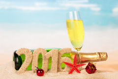 Segno del nuovo anno e di Champagne Immagine Stock
