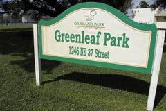 Segno del parco di Greenleaf Immagine Stock Libera da Diritti