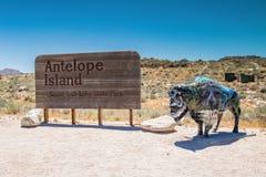 Segno del parco di stato dell'isola dell'antilope Immagini Stock