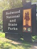 Segno del parco di stato della sequoia Fotografie Stock Libere da Diritti