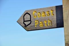 Segno del percorso della costa fotografia stock