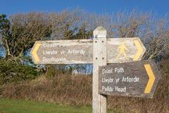 Segno del percorso della costa di Galles Immagini Stock