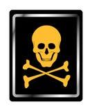 Segno del pericolo con il simbolo del cranio Fotografia Stock Libera da Diritti